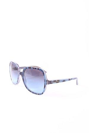Dolce & Gabbana Hoekige zonnebril zwart-blauw luipaardprint extravagante stijl