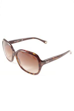 Dolce & Gabbana eckige Sonnenbrille schwarz-sandbraun Leomuster Casual-Look