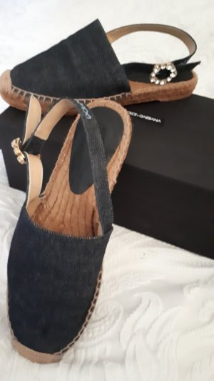 Dolce & Gabbana Espandrilles Leder Jeans Swaroski Crystal in Original Box 38