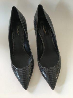 Dolce&Gabbana grauer Pumps, Schlangenleder Gr. 38,5, NP 595,-, neu, ungetragen