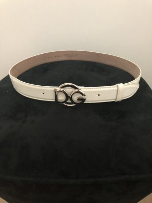 Dolce & Gabbana Leather Belt cream-white leather