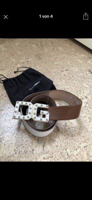 Dolce & Gabbana Leather Belt white-brown