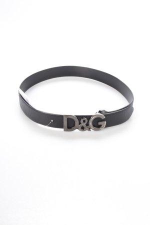 Dolce & Gabbana Gürtel schwarz-anthrazit Logo-Applikation aus Metall