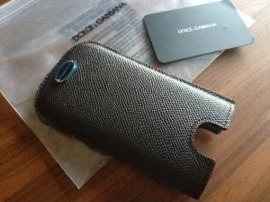 Dolce & Gabbana Étui pour téléphone portable brun foncé cuir