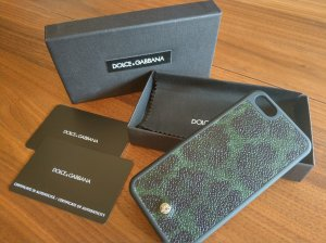 Dolce & Gabbana Custodia per cellulare verde scuro-nero Pelle