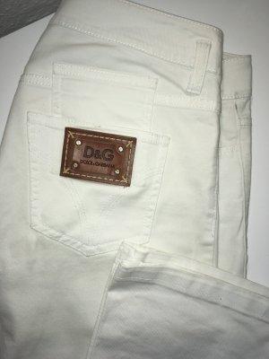 Dolce & Gabbana Five-Pocket Trousers white cotton