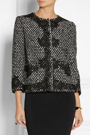 Dolce & Gabbana Jacke Blazer Jackett Bouclé mit Spitzenapplikationen Spitze