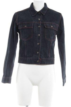 Dolce & Gabbana Denim Jacket dark blue-neon red casual look