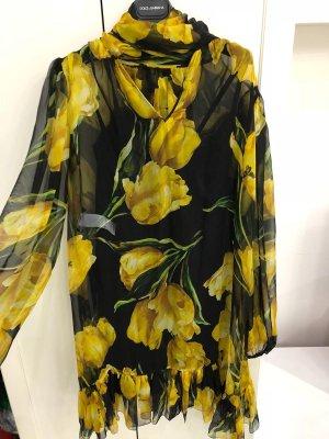 Dolce & Gabbana Robe mi-longue noir-jaune