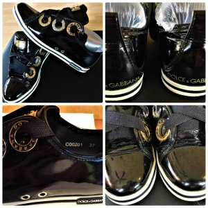 DOLCE & GABBANA Lack Patent leather sneakers.Trainers Gr.37 Schwarz/Gold