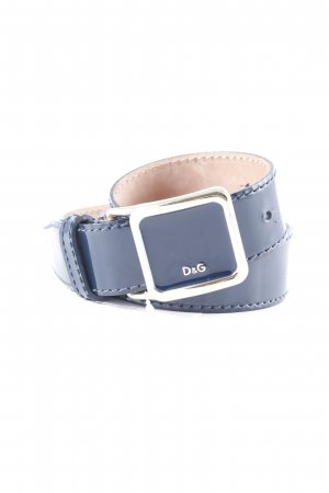 Dolce & Gabbana Leather Belt dark blue-gold-colored wet-look