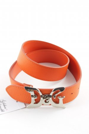 Dolce & Gabbana Leather Belt neon orange-silver-colored elegant