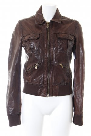 Dolce & Gabbana Giacca in pelle marrone stile casual