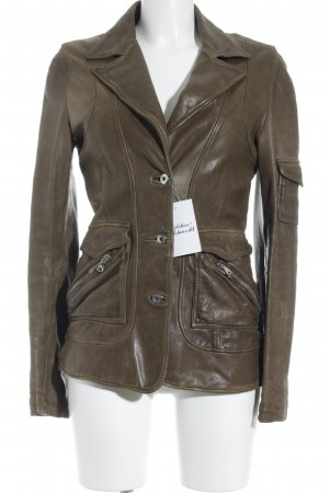 Dolce & Gabbana Leather Jacket light brown-olive green casual look