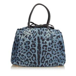 Dolce&Gabbana Leopard Printed Denim Tote Bag