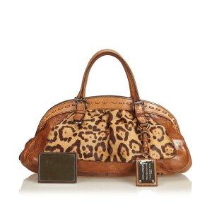 Dolce&Gabbana Leopard Printed Ponyhair Handbag