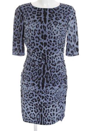 Dolce & Gabbana Midikleid schwarz-blau Leomuster Elegant