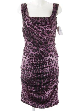 Dolce & Gabbana Midikleid schwarz-lila Leomuster Elegant