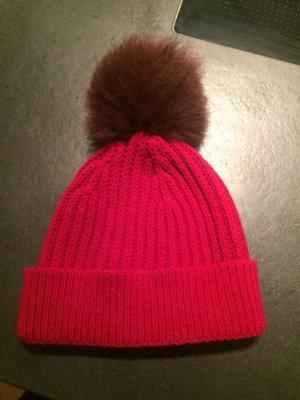 Dolce & Gabbana Mütze mit echtem Fellbommel rot