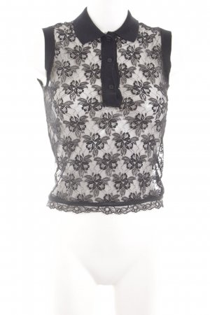 Dolce & Gabbana Netshirt zwart bloemenprint elegant