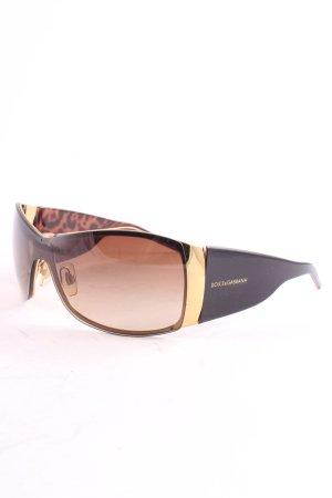 Dolce & Gabbana ovale Sonnenbrille dunkelbraun-goldfarben klassischer Stil