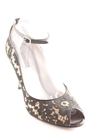 Dolce & Gabbana Peeptoe Pumps schwarz-goldfarben Elegant