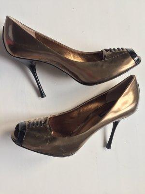 Dolce & Gabbana Peep Toe Pumps gold-colored-black