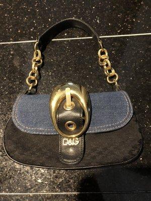 Dolce & Gabbana Sac de soirée noir-bleu acier coton