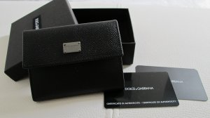 Dolce & Gabbana Card Case black-silver-colored leather