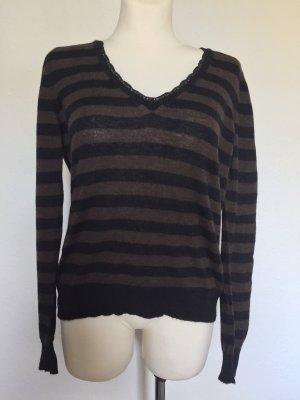 Dolce & Gabbana Jersey de lana marrón oscuro-negro
