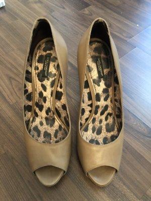 Dolce & Gabbana Peep Toe Pumps beige