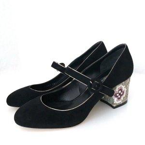 Dolce&Gabbana Pumps Schwarz 38 Wildleder Schuhe Absatz Bestickt Mary Jane Shoes