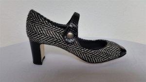 Dolce & Gabbana, Pumps, schwarz-weiß, Schurwolle/Leder/Python, 37,5, neu, € 700,-