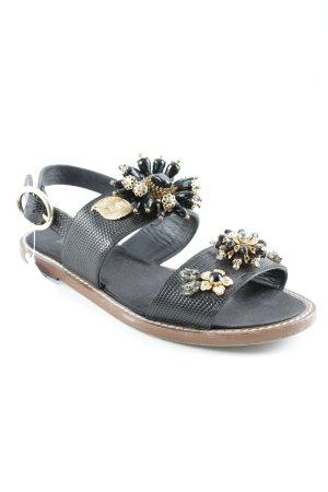 Dolce & Gabbana Riemchen-Sandalen schwarz-goldfarben Animalmuster