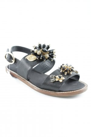 Dolce & Gabbana Strapped Sandals black-gold-colored animal pattern
