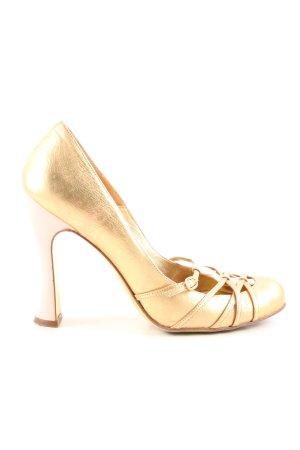 Dolce & Gabbana Riemchenpumps goldfarben Glanz-Optik