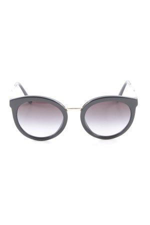 Dolce & Gabbana runde Sonnenbrille schwarz-goldfarben Elegant