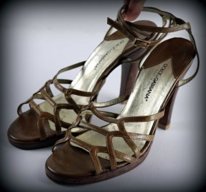 Dolce & Gabbana Strapped High-Heeled Sandals light brown-gold-colored leather