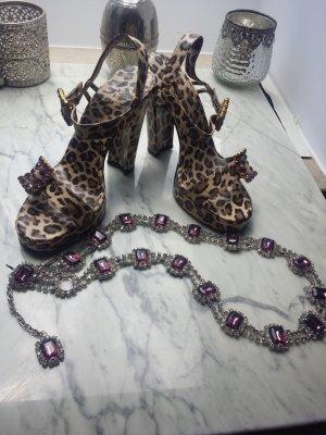 Dolce & Gabbana Sandalen Heels 37 Leo +  Dolce &Gabbana Schmuck Kette   Vintage