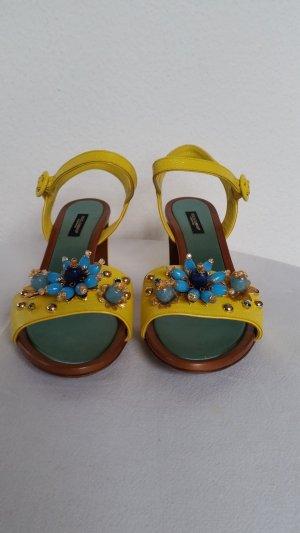 Dolce & Gabbana Sandalen met bandjes geel Leer