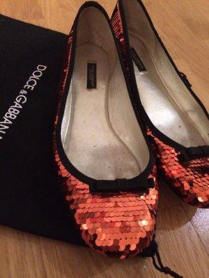 Dolce & Gabbana Ballerinas neon orange-black leather