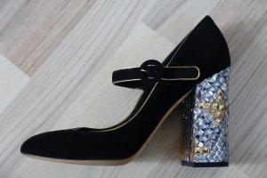 DOLCE & GABBANA Schuhe, Gr. 40.5, Mary Janes, schwarz, mit genial verziertem Blockabsatz !!