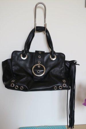 Dolce & Gabbana Schwarz Leder Tasche mit Fransen