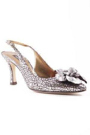 Dolce & Gabbana Spitz-Pumps silberfarben-dunkelgrau Schimmer-Optik