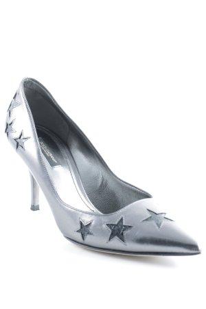 Dolce & Gabbana Spitz-Pumps silberfarben-schwarz Sternenmuster Elegant