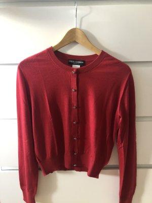 Dolce & Gabbana Veste en tricot argenté-rouge cachemire