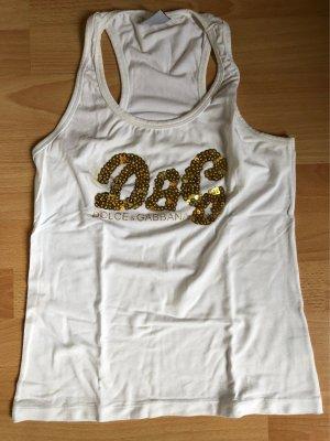 Dolce & Gabbana Tank Top Gr. L / 36 weiß gold D&G