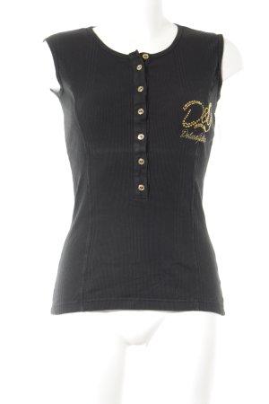 Dolce & Gabbana Tanktop schwarz-goldfarben Schriftzug gedruckt Glitzer-Optik