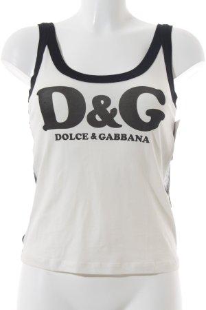 Dolce & Gabbana Tanktop schwarz-weiß Schriftzug gedruckt Street-Fashion-Look