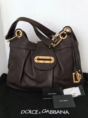 Dolce & Gabbana Tasche Braun Gold Leder Shopper Schultertasche DG Logo Dust-Bag